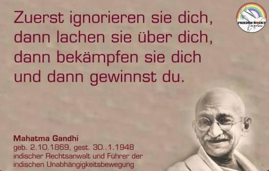 Gandhi erst lachen sie dann gewinnst du